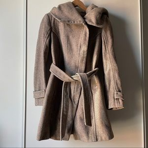 Zara beige belted wool long sleeve jacket